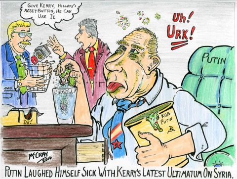 Putin Laughs Himself Sick (Political Cartoon)