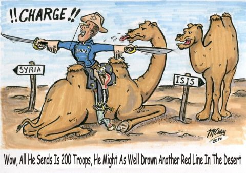 "(Political Cartoon) Obama Fudges Another ""Red"" Line"