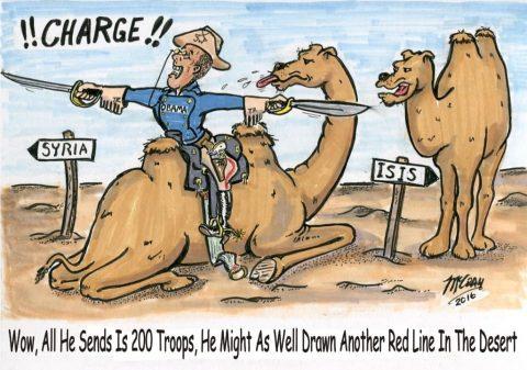 "(Political Cartoon) Obama Fudges Another ""Red"" Line"