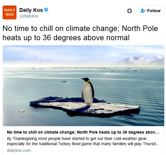 The Daily Kos says CO2 is evil, but there are no Penguins at the North Pole.