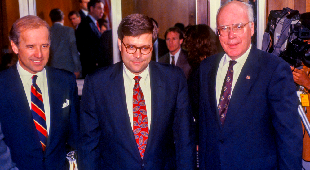 1991 AG nominee Bill Barr with Senators Joe Biden and Patrick Leahy